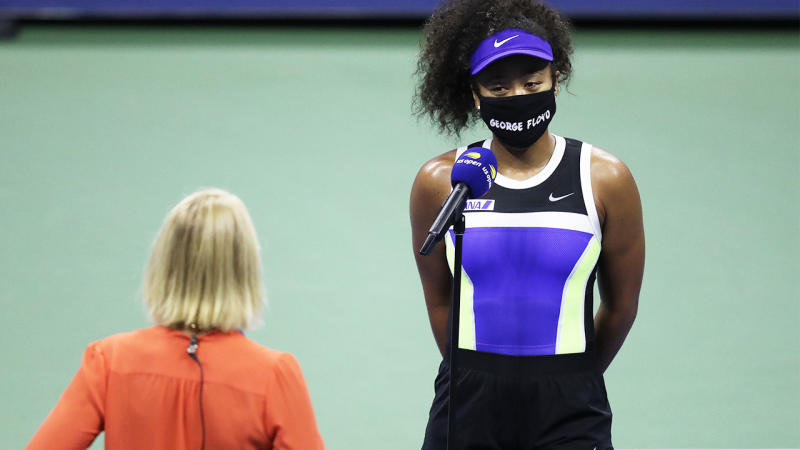 Rennae Stubbs asks Naomi Osaka (pictured right) a question after her US Open match.