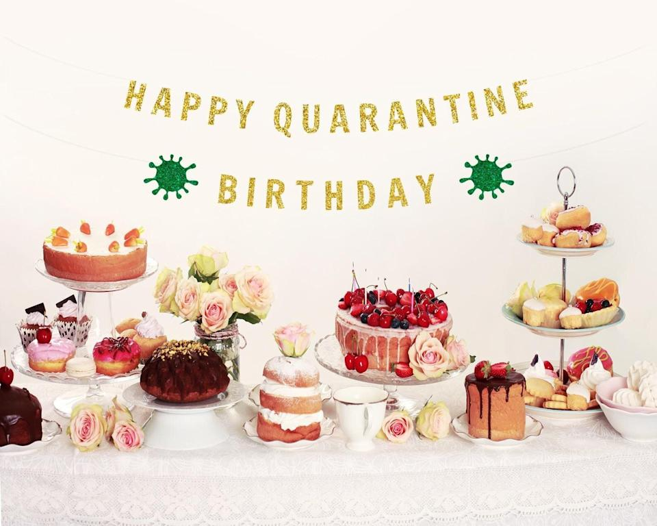 """Yeah, you've probably been to a <a href=""""https://www.huffpost.com/entry/quarantine-birthday-gift-ideas-for-adults_l_5f108e02c5b6cec246bffd7c"""" target=""""_blank"""" rel=""""noopener noreferrer"""">(virtual) birthday party </a>or two in recent months. Another trip around the sun is always a reason to celebrate, and birthdays are abright spot in this strange year. While no one can really claim this was a <i>banner</i> year, this banner is one to remember. <a href=""""https://fave.co/37LKP8b"""" target=""""_blank"""" rel=""""noopener noreferrer"""">Find it starting at $25 on Etsy</a>."""