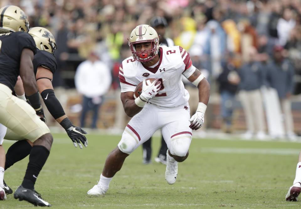 Boston College running back AJ Dillon (2) runs against Purdue during the second half of an NCAA college football game in West Lafayette, Ind., Saturday, Sept. 22, 2018. Purdue defeated Boston College 30-13. (AP Photo/Michael Conroy)
