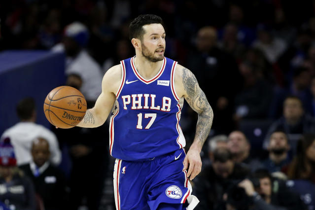 "Philadelphia 76ers guard <a class=""link rapid-noclick-resp"" href=""/nba/players/4139/"" data-ylk=""slk:J.J. Redick"">J.J. Redick</a> said there was a woman in a ""box or cage"" in the back of his car service ride following a photo shoot in New York City this week. (Getty Images)"