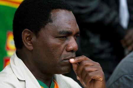 UPND presidential candidate Hakainde Hichilema looks on during a rally in Lusaka