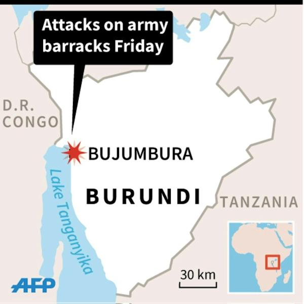 Map of Burundi locating the capital Bujumbura, where dozens of people were killed in assaults on two army barracks Friday. 45 x 45 mm