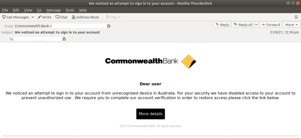 Screenshot of fake security alert email spoofing Commonwealth Bank