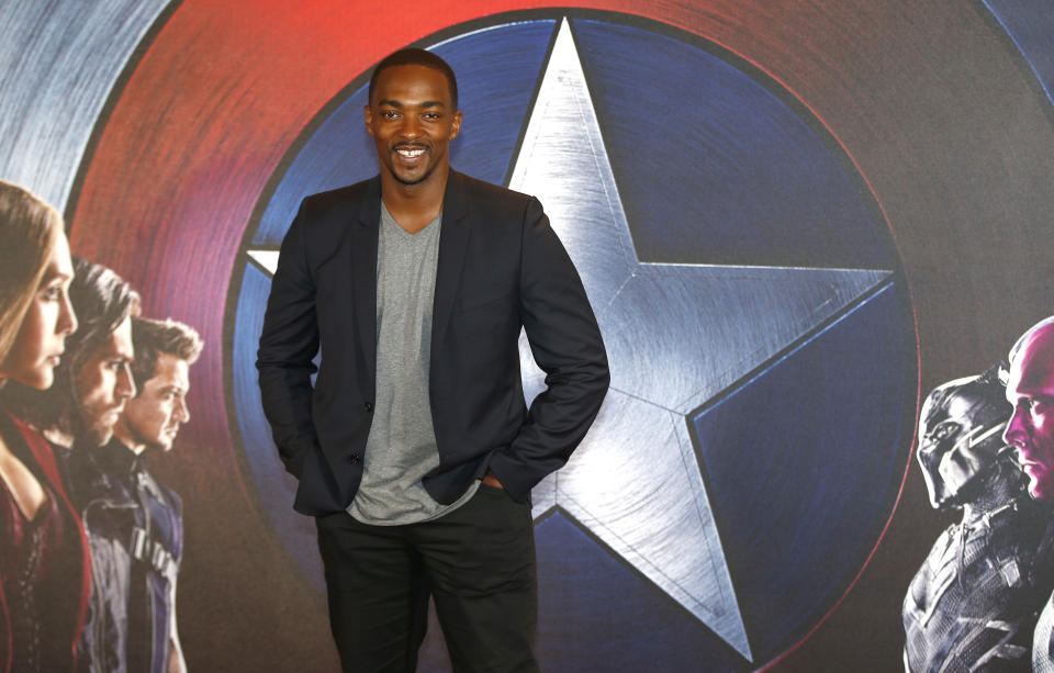"""Actor Anthony Mackie, who plays """"Sam Wilson"""", poses for photographers at a media event ahead of the release of """"Captain America: Civil War"""", in London, Britain April 25, 2016.  REUTERS/Peter Nicholls"""