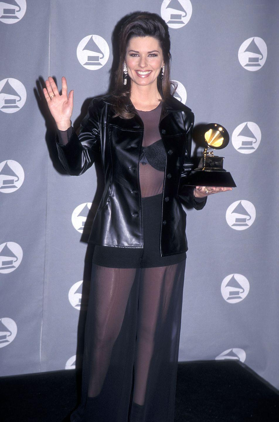 <p>Remember when Shania Twain went to the Grammys and wore an entirely sheer black dress over a black bra and shorts set with a black leather blazer? Yeah, we forgot about that too. <br></p>
