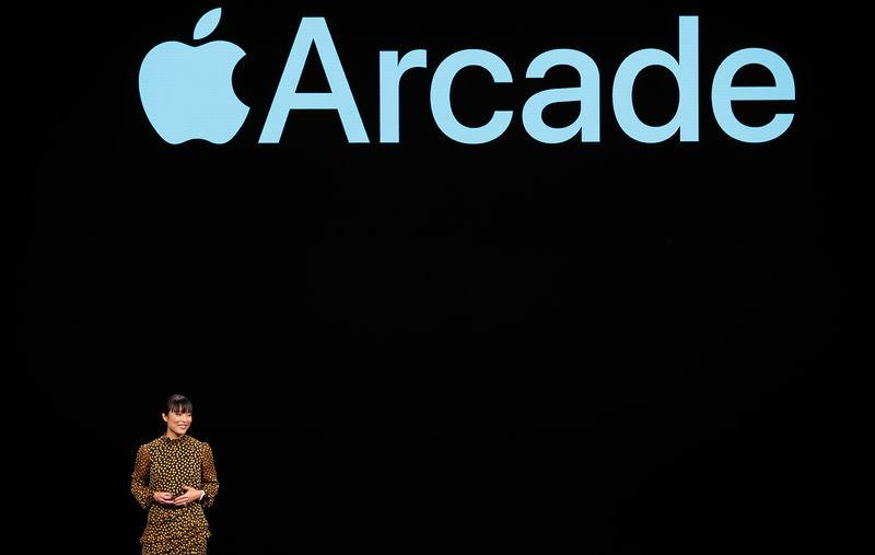 Ann Thai, Sr. Product Marketing Manager, App Store at Apple, speaks during an Apple special event at the Steve Jobs Theater in Cupertino, California, U.S., March 25, 2019. REUTERS/Stephen Lam