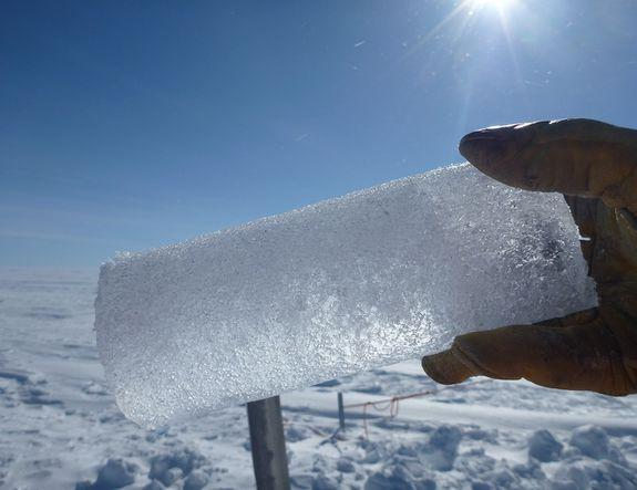 Ancient air stored in ice core bubbles.