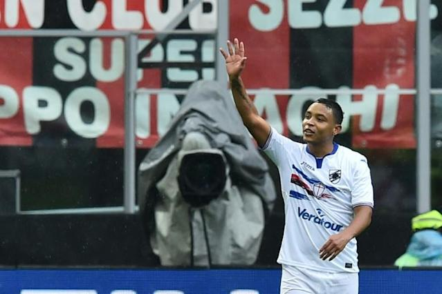 Striker Luis Muriel, pictured in February 2017, has accepted a 20 million euro ($22.8 million) deal to join Sevilla FC, a record amount for the club