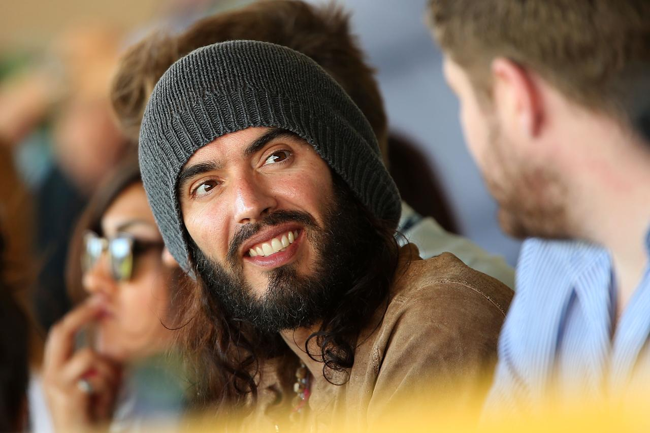 PERTH, AUSTRALIA - DECEMBER 01:  English comedian Russell Brand watches the cricket during day two of the Third Test Match between Australia and South Africa at WACA on December 1, 2012 in Perth, Australia.  (Photo by Paul Kane/Getty Images)