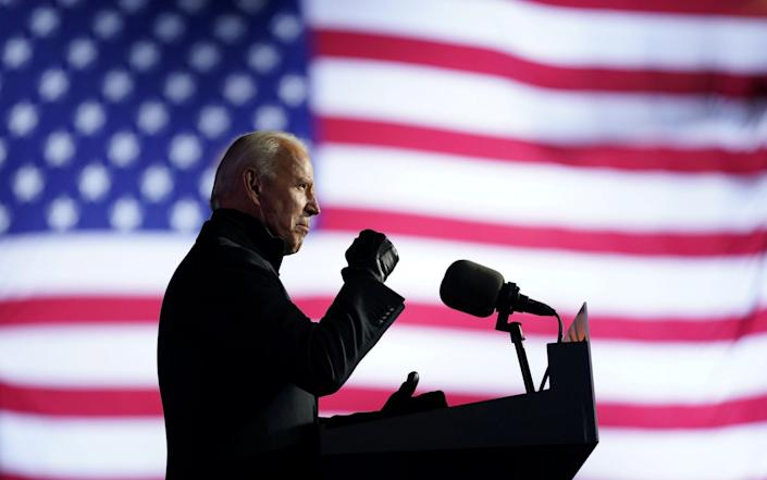 Biden campaigning in Pittsburgh on Monday - REUTERS