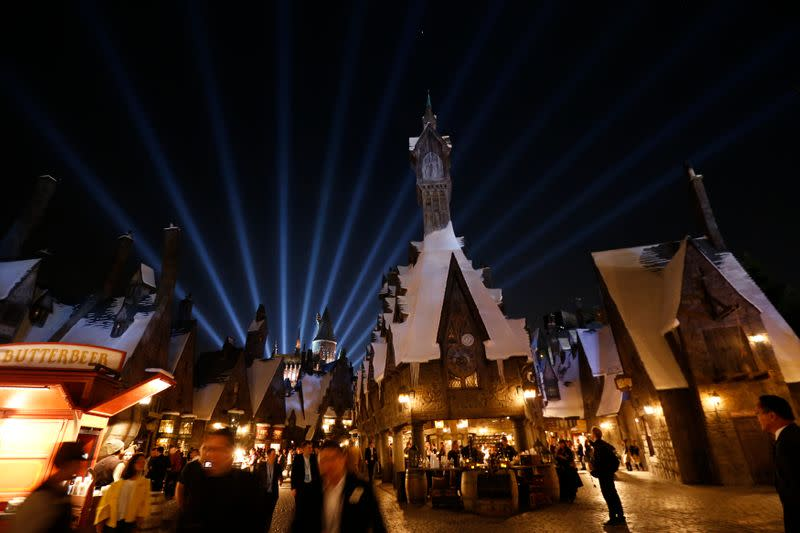 """FILE PHOTO: A general view of """"The Wizarding World of Harry Potter"""" attraction during a special preview opening at Universal Studios Hollywood in Universal City"""