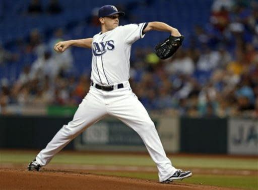 Tampa Bay Rays starting pitcher Jeremy Hellickson throws during the first inning of a baseball game against the Chicago White Sox on Friday, July 5, 2013, in St. Petersburg, Fla. (AP Photo/Mike Carlson)