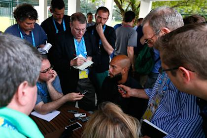 Tim Howard fields questions from the media on Saturday. (Getty)
