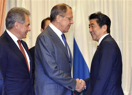 Russia's Foreign Minister Lavrov and Defence Minister Shoigu meets Japan's Prime Minister Abe in Tokyo