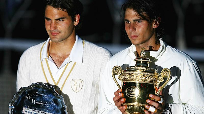 Roger Federer and Rafael Nadal at Wimbledon in 2008. (Photo by Julian Finney/Getty Images)