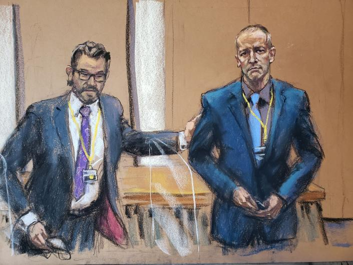 In a courtroom sketch, defense attorney Eric Nelson, left, introduces Derek Chauvin, the former Minneapolis police officer facing murder charges in the death of George Floyd, to potential jurors during jury selection in his trial. (Jane Rosenberg/Reuters)