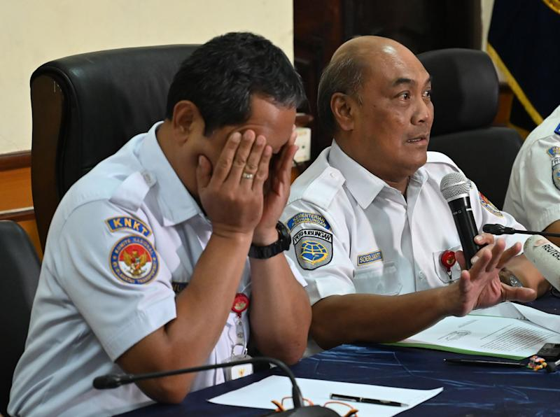 Soerjanto Tjahjono (R), the head of Indonesia's national transportation safety committee (KNKT) and Nurcahyo (L), head of the flight accident sub-committee of KNKT, brief journalists during a press conference about the Lion Air Boeing 737 Max 8 crash in 2018, in Jakarta on March 21, 2019. (Photo by BAY ISMOYO / AFP) (Photo credit should read BAY ISMOYO/AFP/Getty Images)