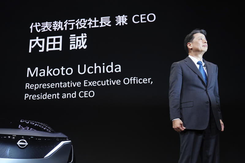 Nissan Chief Executive Makoto Uchida speaks during a press conference in the automaker's headquarters in Yokohama, near Tokyo Monday, Dec. 2, 2019. (AP Photo/Eugene Hoshiko)