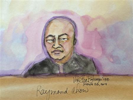 """Raymond """"Shrimp Boy"""" Chow appears in this courtroom sketch before U.S. Magistrate Judge Nathanael Cousins in San Francisco March 26, 2014. REUTERS/Vicki Behringer"""