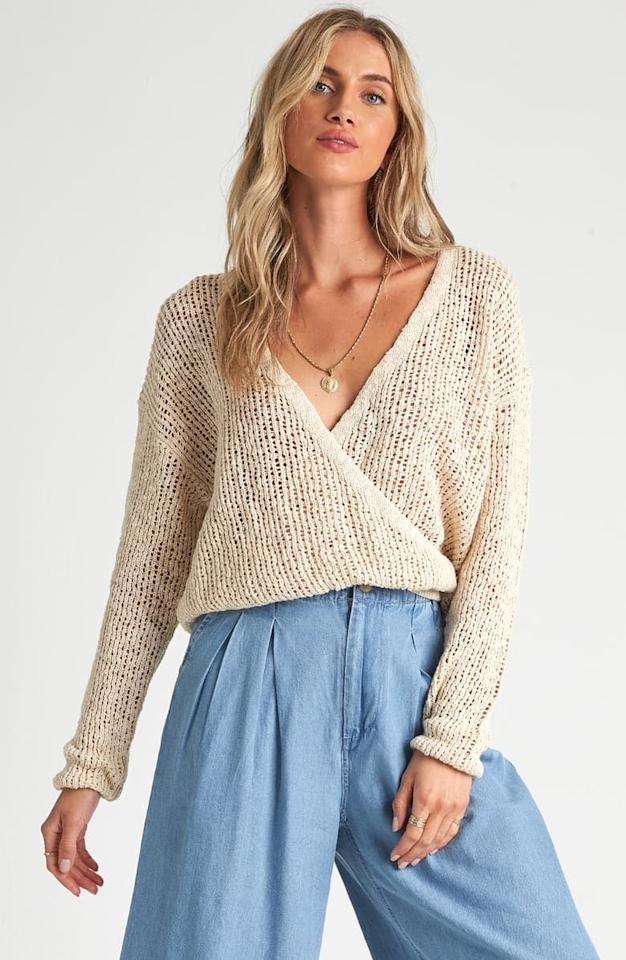 "<p><a href=""https://www.popsugar.com/buy/Billabong-Sweet-Bliss-Wrap-Front-Sweater-554716?p_name=Billabong%20Sweet%20Bliss%20Wrap%20Front%20Sweater&retailer=shop.nordstrom.com&pid=554716&price=36&evar1=fab%3Aus&evar9=47286892&evar98=https%3A%2F%2Fwww.popsugar.com%2Ffashion%2Fphoto-gallery%2F47286892%2Fimage%2F47287194%2FBillabong-Sweet-Bliss-Wrap-Front-Sweater&list1=shopping%2Cnordstrom%2Cspring%20fashion%2Csale%20shopping&prop13=api&pdata=1"" rel=""nofollow"" data-shoppable-link=""1"" target=""_blank"" class=""ga-track"" data-ga-category=""Related"" data-ga-label=""https://shop.nordstrom.com/s/billabong-sweet-bliss-wrap-front-sweater/5600290/full?origin=category-personalizedsort&amp;breadcrumb=Home%2FSale%2FWomen%2FNew%20Markdowns&amp;color=white%20cap"" data-ga-action=""In-Line Links"">Billabong Sweet Bliss Wrap Front Sweater</a> ($36, originally $60)</p>"