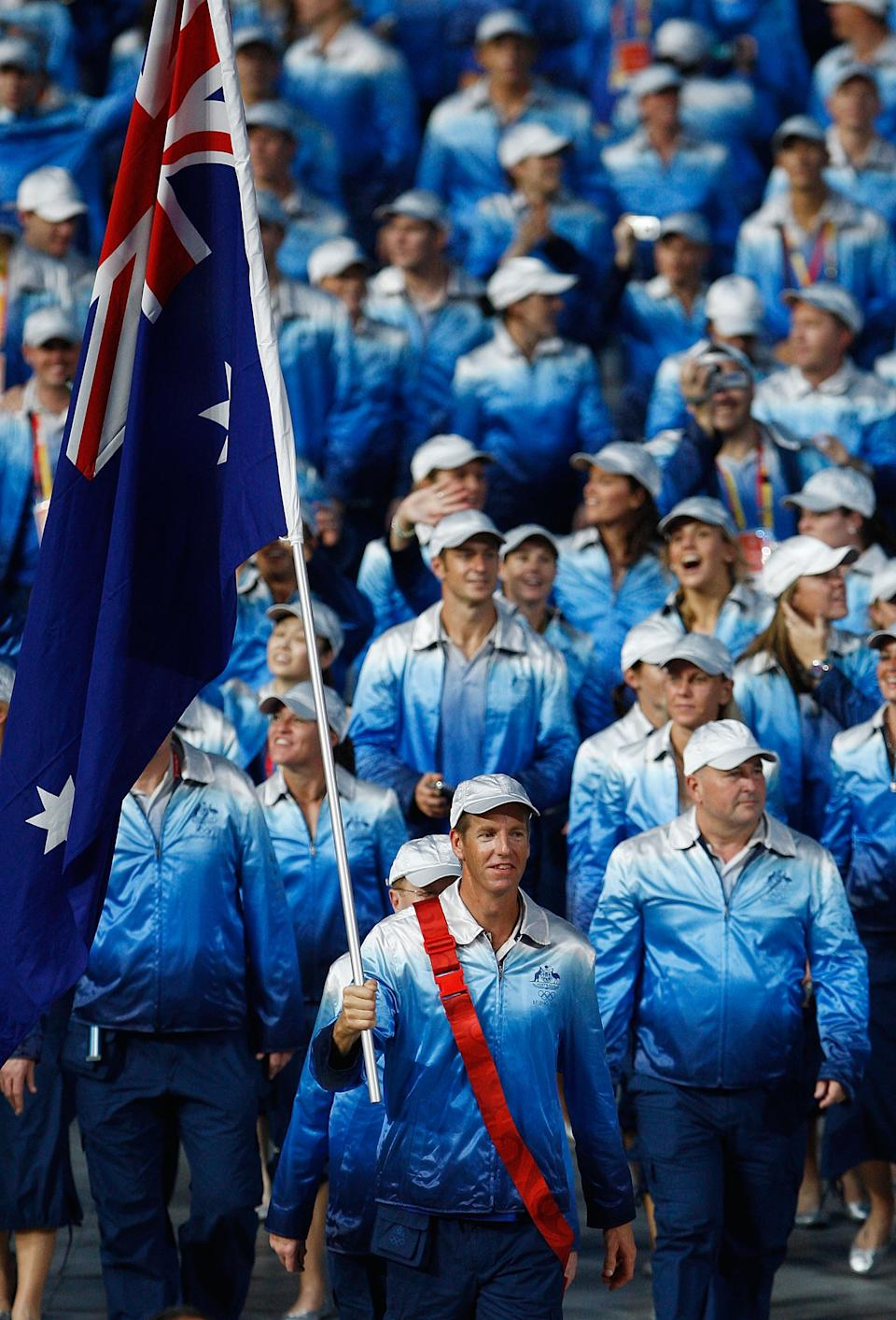 """In Australia, they do things a little different.They don't announce their flag bearer until the night before the Olympics, which becomes <a href=""""http://bit.ly/NeK0lj"""" rel=""""nofollow noopener"""" target=""""_blank"""" data-ylk=""""slk:gambling fodder for Aussies"""" class=""""link rapid-noclick-resp"""">gambling fodder for Aussies</a>. Australian rower and three-time Olympic gold medalist James Tomkins was the winner in 2008."""