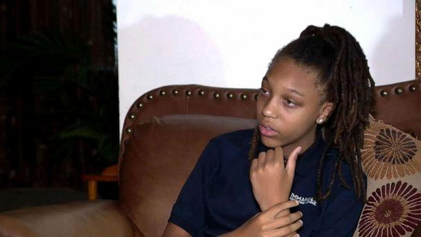 PHOTO: Amari Allen, 12, said a group of male classmates at Immanuel Christian School in Springfield, Virginia, pinned her down and cut her dreadlocks during recess. (WJLA)