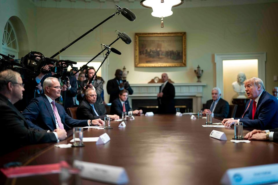 President Donald Trump speaks during a roundtable meeting with energy sector CEOs at the White House on April 3. U.S. oil companies were hit hard by both the effects of the coronavirus and from foreign pressures caused by Russia and Saudi Arabia in the oil markets. (Photo: Pool via Getty Images)