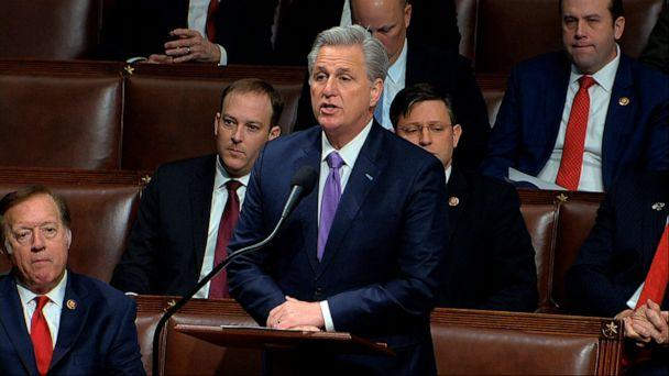 PHOTO: House Minority Leader Kevin McCarthy of Calif., speaks as the House of Representatives begins debate on the articles of impeachment against President Donald Trump at the Capitol in Washington, Dec. 18, 2019. (House Television via AP)