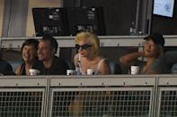 <p>Lady Gaga (C) attends game one of the 2017 World Series between the Houston Astros and the Los Angeles Dodgers at Dodger Stadium on October 24, 2017 in Los Angeles, California. (Photo by Kevork Djansezian/Getty Images) </p>