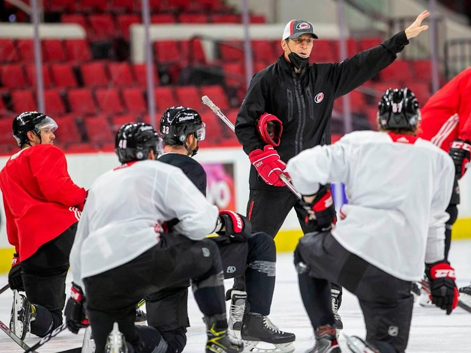 Carolina Hurricanes' coach Rod Brind'Amour works with his players during their practice on Saturday, May 15, 2021 at PNC Arena in Raleigh, N.C. The Hurricanes are preparing for their opening round Stanley Cup playoff series against Nashville.