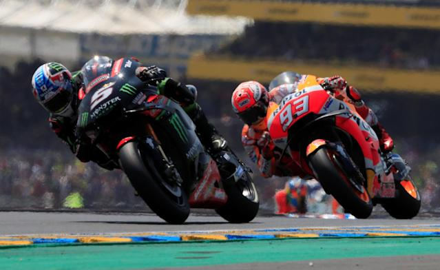 Motorcycling - MotoGP - French Grand Prix - Bugatti Circuit, Le Mans, France - May 20, 2018 Ducati Team's Jorge Lorenzo and Repsol Honda Team's Marc Marquez during the race REUTERS/Gonzalo Fuentes