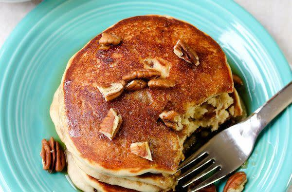 "<strong>Get the <a href=""http://www.aspicyperspective.com/2012/02/toffee-nut-pancakes.html"" rel=""nofollow noopener"" target=""_blank"" data-ylk=""slk:Toffee Nut Pancakes recipe"" class=""link rapid-noclick-resp"">Toffee Nut Pancakes recipe</a> from A Spicy Perspective</strong>"