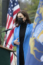 Michigan Governor Gretchen Whitmer U.S. talks about the statewide COVID-19 vaccination effort during a press conference outside the Eastern Michigan University Convocation Center, which was hosting a vaccination clinic, Monday, April 12, 2021. (Lon Horwedel/Detroit News via AP)