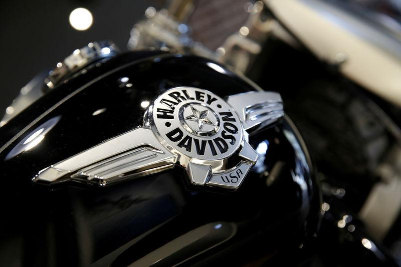 FILE PHOTO - The logo of U.S. motorcycle company Harley-Davidson is seen on one of their models at a shop in Paris