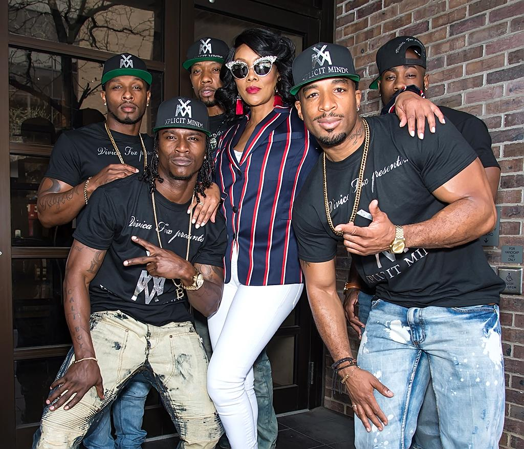 """<p>Apparently, gentlemen prefer Vivica! Exotic dancers from Fox's new live show, """"Vivica A. Fox Presents the Men of Xplicit Minds,"""" flanked her during a stop at a Philadelphia morning show. (Photo: Ouzounova/Splash News) </p>"""