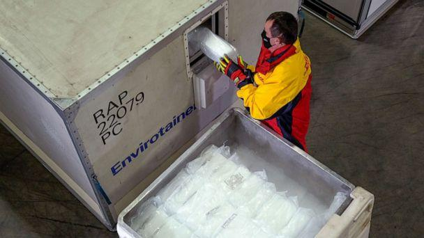PHOTO: 'Envirotainers' are seen inside an ultra-cold facility that is used for the shipment of vaccines, medical supplies and pharmaceuticals in Chicago, in an undated photo released on Nov. 18, 2020. (DHL via Reuters)