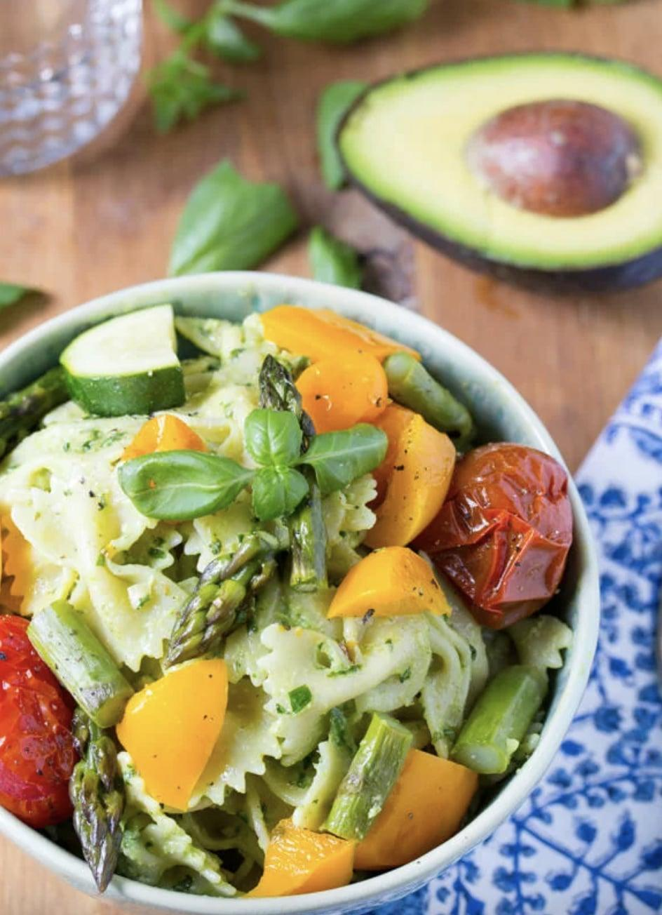 """<p>Avocado pesto is the new and improved pasta sauce, and wow, is it good. This salad includes the classic pesto favorites like basil, garlic, and parmesan cheese - just with a lighter avocado twist. Pair it with your favorite summer veggies to make it complete.</p> <p><strong>Get the recipe:</strong> <a href=""""http://sweetpeasandsaffron.com/2014/06/avocado-pesto-pasta-salad-with-roasted-summer-vegetables.html"""" class=""""link rapid-noclick-resp"""" rel=""""nofollow noopener"""" target=""""_blank"""" data-ylk=""""slk:avocado pesto pasta salad"""">avocado pesto pasta salad</a></p>"""