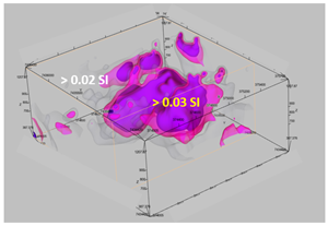 3-Dimensional View of Magnetic Anomaly > 0.03 SI as obtained from the Magnetic Vector Inversion (Geosoft™) Model Looking North-East