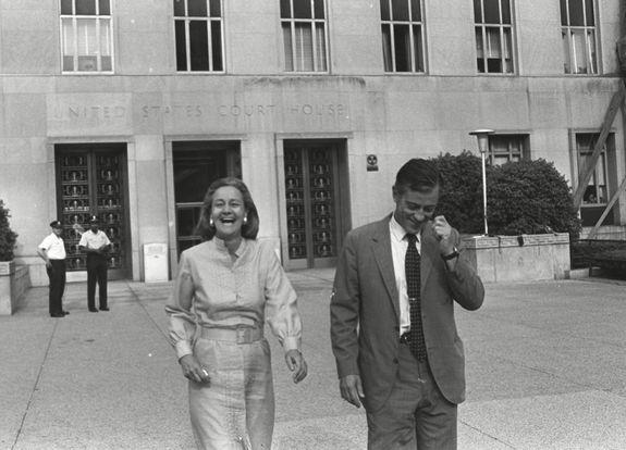 Washington Post Publisher Katharine Graham and Execuctive Editor Ben Bradlee leave U.S. District Court in Washington, happy with the ruling the the paper could publish further articles about a Pentagon report on Vietnam.