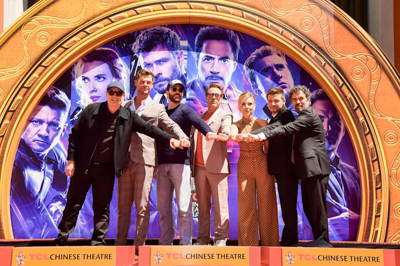 HOLLYWOOD, CALIFORNIA - APRIL 23: President of Marvel Studios/Producer Kevin Feige, Chris Hemsworth, Chris Evans, Robert Downey Jr., Scarlett Johansson, Mark Ruffalo, and Jeremy Renner attends the Marvel Studios' 'Avengers: Endgame' cast place their hand prints in cement at TCL Chinese Theatre IMAX Forecourt at TCL Chinese Theatre IMAX on April 23, 2019 in Hollywood, California. (Photo by Matt Winkelmeyer/Getty Images)