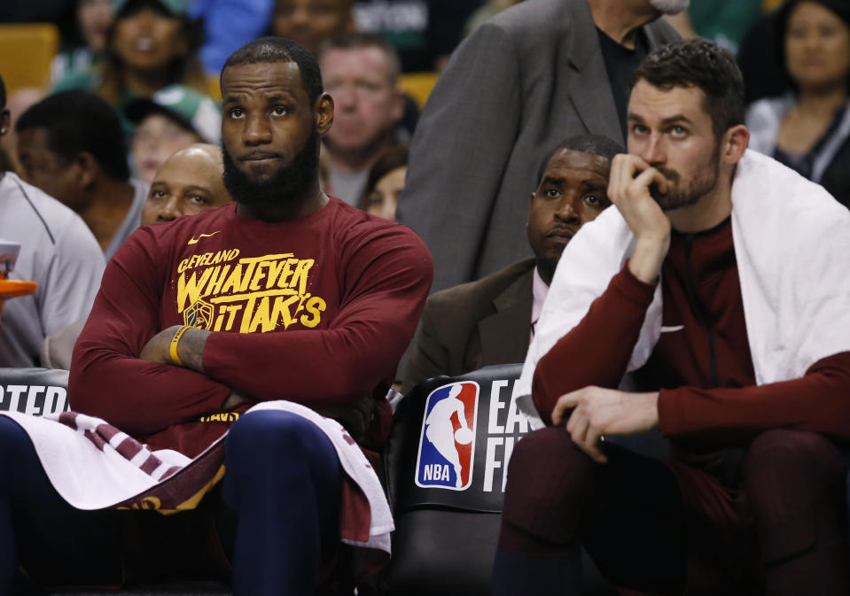 Not much went right for LeBron James and Kevin Love on Sunday in Game 1. (AP)