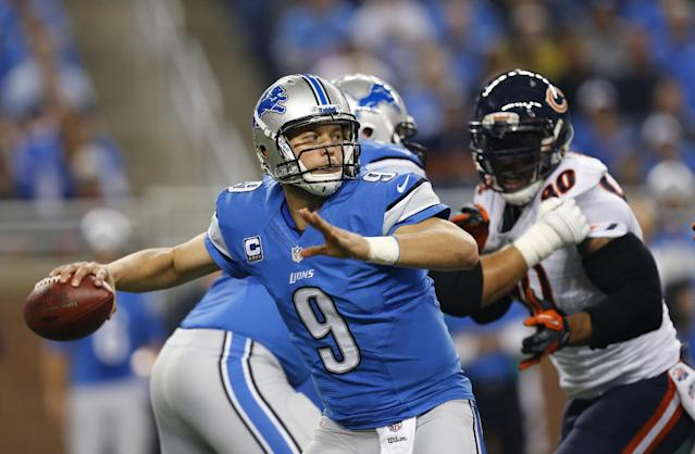 Detroit Lions quarterback Matthew Stafford (9) throws during the first quarter of an NFL football game against the Chicago Bears at Ford Field in Detroit, Sunday, Sept. 29, 2013. (AP Photo/Paul Sancya)
