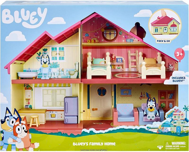 """<a href=""""https://amzn.to/35WiVoU"""" target=""""_blank"""" rel=""""noopener noreferrer"""">This play set</a> includes a house with four different rooms. There's removable furniture,opening doors and a patio, too. Kids can make the Bluey figure jump around from room to room.<a href=""""https://amzn.to/35WiVoU"""" target=""""_blank"""" rel=""""noopener noreferrer"""">Find it for $73 at Amazon</a>."""