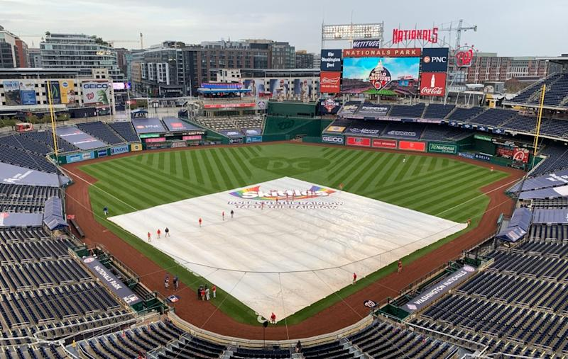 Tarp on the field at Nationals Park