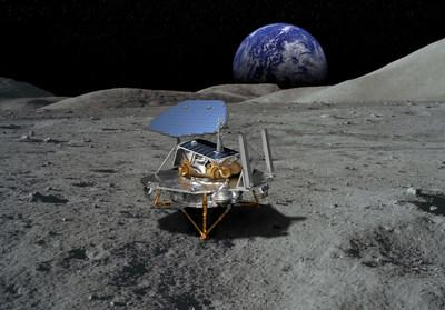 This rendering of Lockheed Martin's McCandless Lunar Lander shows a notional large payload, and commonality with the proven InSight and Phoenix Mars landers.