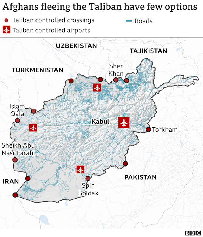 Map of Afghanistan and surrounding countries showing the main border crossings