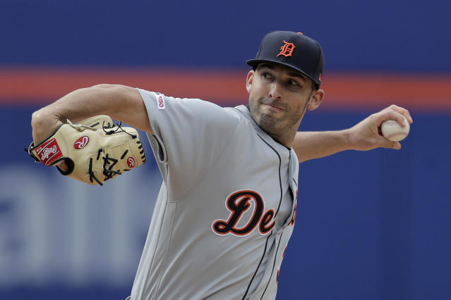 Detroit Tigers starting pitcher Ryan Carpenter throws a pitch to New York Mets' J.D. Davis during the first inning of an interleague baseball game, Saturday, May 25, 2019, in New York. (AP Photo/Julio Cortez)