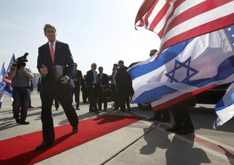 "FILE-In this Friday, Nov. 8, 2013 file photo, U.S. Secretary of State John Kerry walks to his plane after meeting with Israeli Prime Minister Benjamin Netanyahu in Tel Aviv, Israel. In an unexpected consequence of the global diplomacy over Iran, Israel and Gulf Arab states led by Saudi Arabia are boosting back-channel contacts and finding increasing common ground over their mutual dismay with Tehran's drive to mend ties with the West and reach a nuclear deal. The ""strange alliance"" _ in the word of one former diplomat _ highlights how the ripples from Iran are driving some allies apart while pushing foes closer. It also highlights the Sunni world's distress at the possibility of a bomb in the hands of a Shiite power.(AP Photo/Jason Reed, Pool, File)"