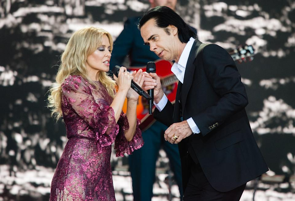 GLASTONBURY, ENGLAND - JUNE 30: Kylie Minogue and Nick Cave perform on the Pyramid Stage on day five of Glastonbury Festival at Worthy Farm, Pilton on June 30, 2019 in Glastonbury, England. (Photo by Samir Hussein/WireImage)