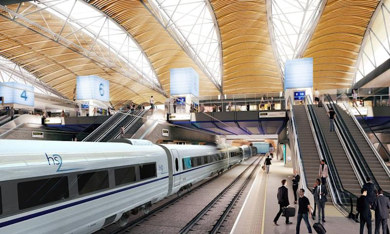 An artist's impression of the proposed HS2 station at Euston; demolition works are underway near the station.